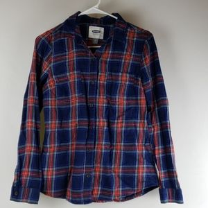 Old navy XS red blue plaid cotton flannel blouse